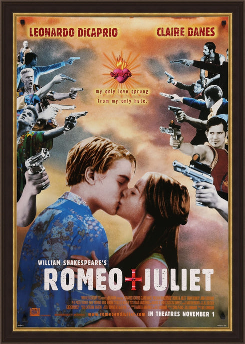 An original movie poster for the 1996 film Romeo and Juliet