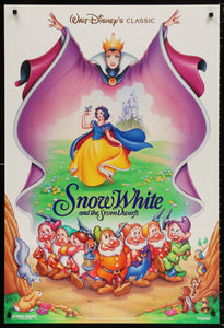 An original movie poster for the Disney film Snow White and the Seven Dwarfs