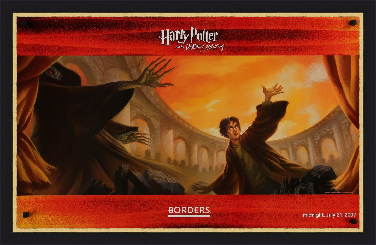 An original poster for the publication of Harry Potter and the Deathly Hallows