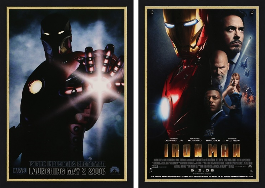 An original movie poster for the Marvel film Iron Man
