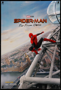 An original movie poster for the Marvel film Spiderman Far From Home