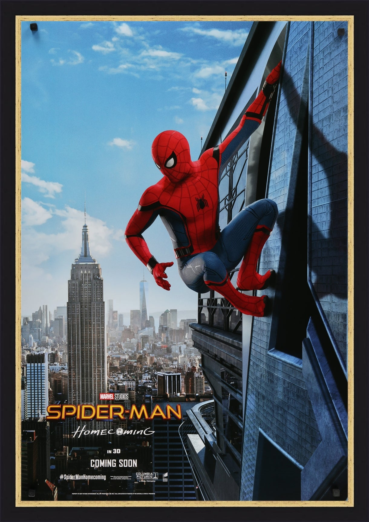 An original movie poster for the Marvel film Spiderman Homecoming