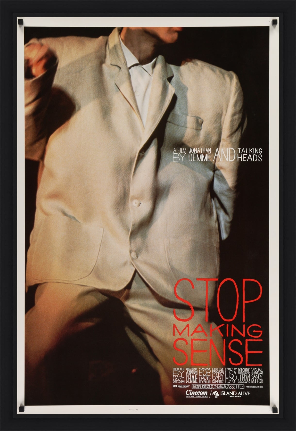 An original movie poster for the film Stop Making Sense starring The Talking Heads