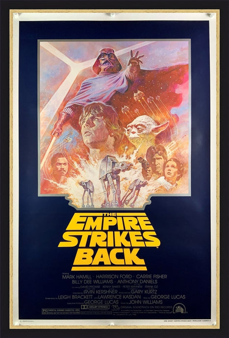 An original movie poster for the Star Wars film The Empire Strikes Back