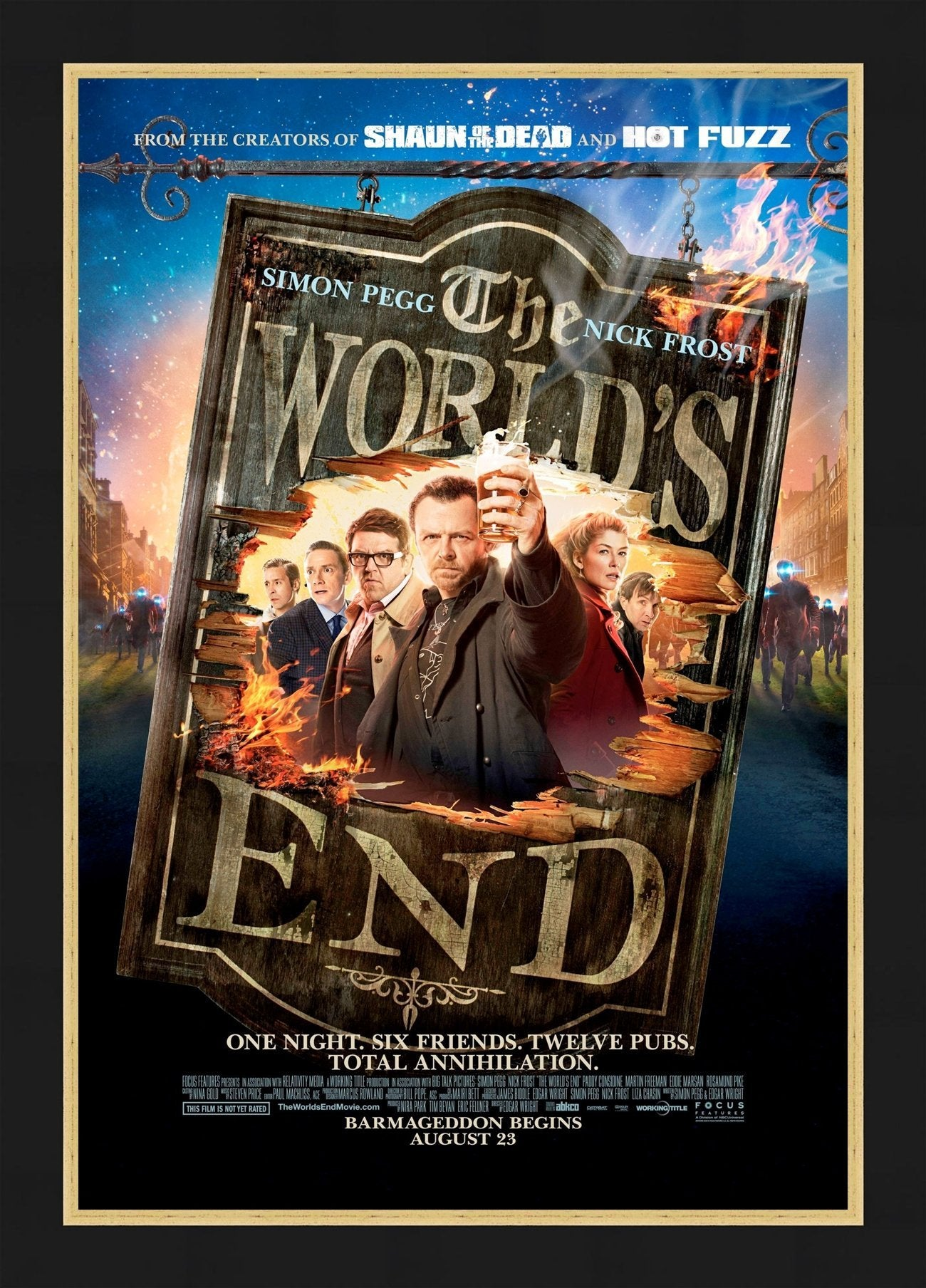 An original movie poster for the Edgar Wright film The World's End