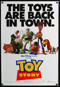 An original movie poster for the Pixar film Toy Story