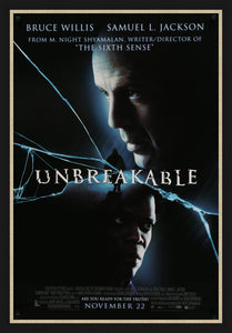 An original movie poster for Unbreakable