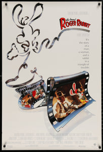 An original movie poster for the film Who Framed Roger Rabbit