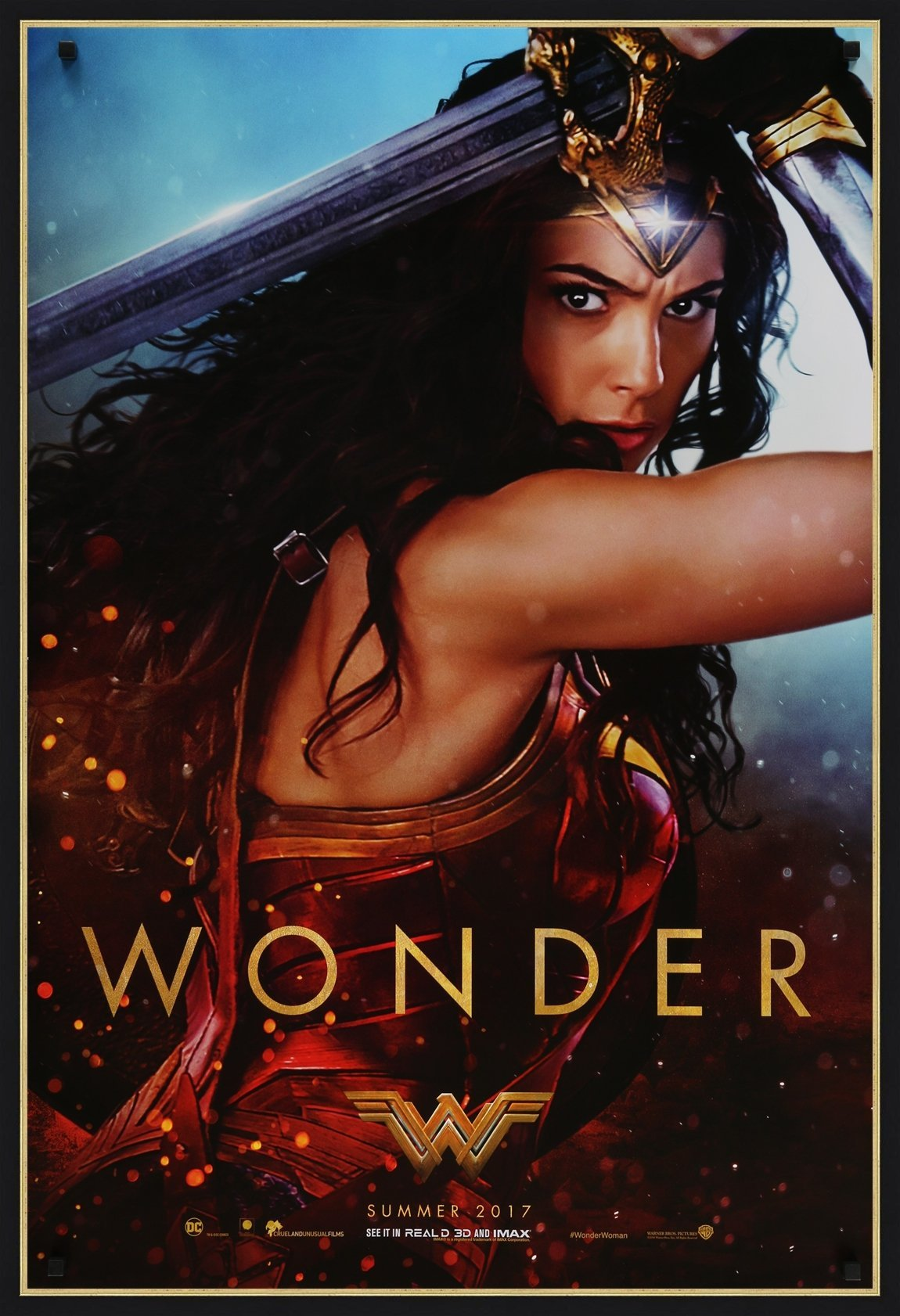 An original movie poster for the film Wonder Woman