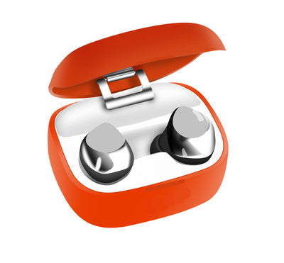 tornado orange earbuds in chargebox