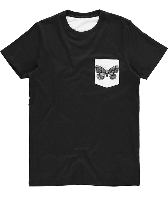 Wallich's Owl Moth Unisex Subli Pocket Tee