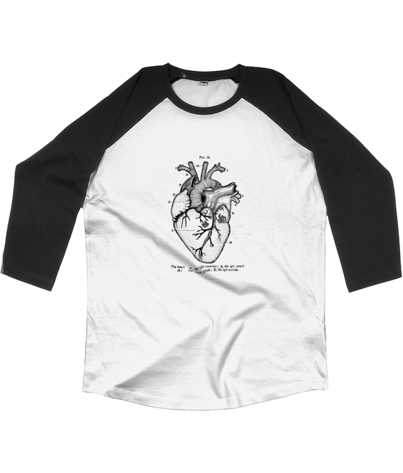 Anatomical Heart Unisex Baseball T-shirt