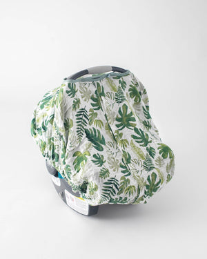 Little Unicorn Cotton Muslin Car Seat Canopy- Tropical Leaf