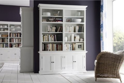 Images | Halifax White Double Bookcase Hutch Unit with Dresser CA613