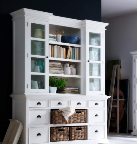 Nova Solo Halifax White Mahogany Library Hutch Unit