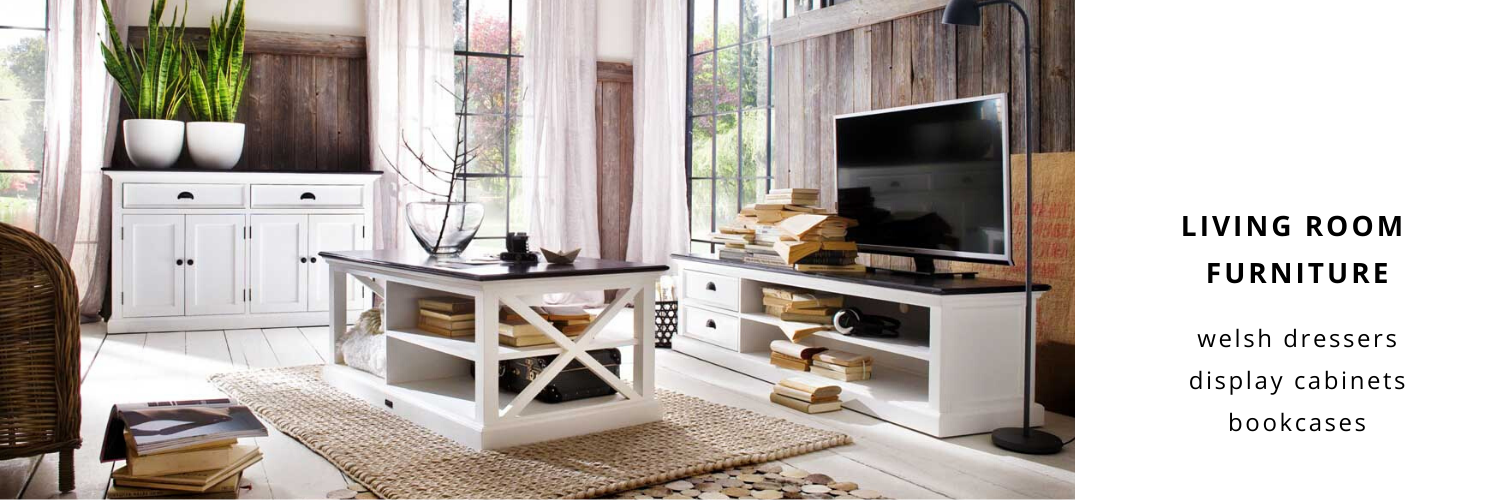 white welsh dressers, white display cabinets and white bookcases