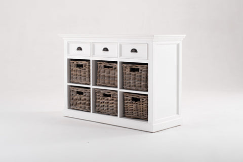 Nova Solo Halifax White Buffet Sideboard with 6 Baskets B128