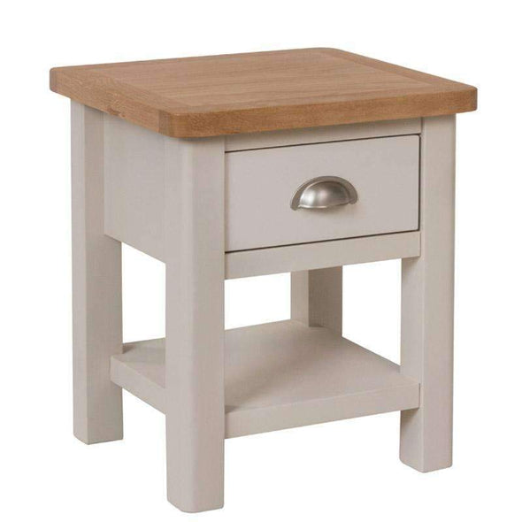 Toulouse Grey Painted Oak 1 Drawer Side Table - White Tree Furniture
