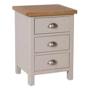 Toulouse Grey Painted Oak 3 Drawer Bedside Cabinet - White Tree Furniture