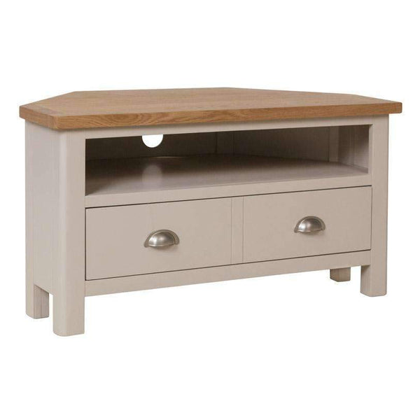 Toulouse Grey Painted Oak Corner TV Unit - White Tree Furniture