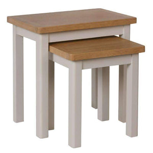 Toulouse Grey Painted Oak Nest of 2 Tables - White Tree Furniture