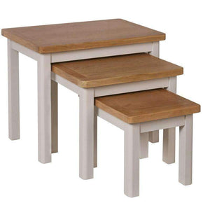 Toulouse Grey Painted Oak Nest of 3 Tables - White Tree Furniture