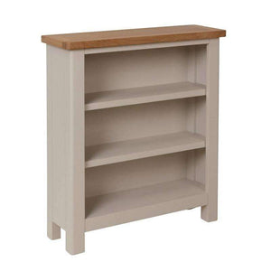 Toulouse Grey Painted Oak Small Wide Bookcase - White Tree Furniture