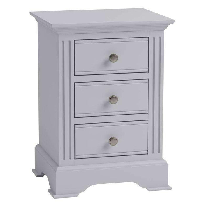 Alsace Grey Painted 3 Drawer Bedside Cabinet - White Tree Furniture