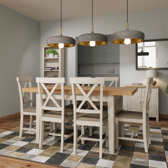Grey Painted Oak Extending Dining Table 120cm - White Tree Furniture
