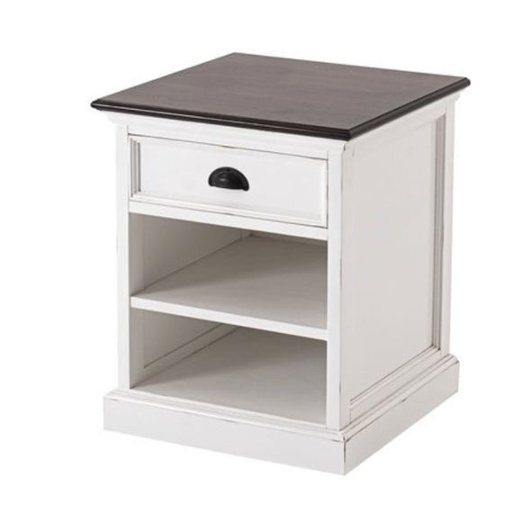 Halifax Accent White Bedside Table with Shelves T790TWD - White Tree Furniture