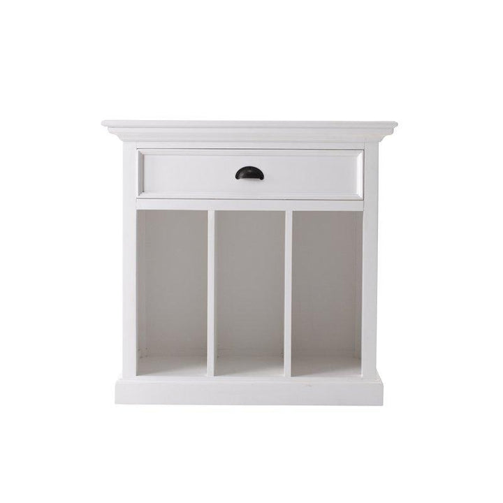 Halifax Grand White Painted Bedside Table with Dividers T757L - White Tree Furniture