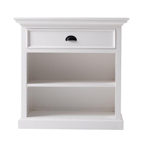 Halifax Grand White Painted Bedside Table with Shelves T764L - White Tree Furniture