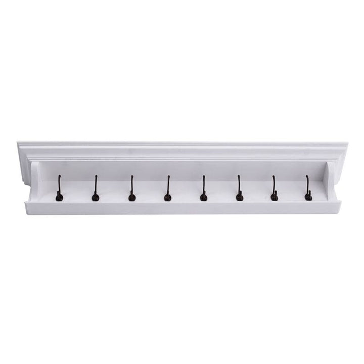 Halifax White Painted 8 Hook Coat Rack 130cm - White Tree Furniture