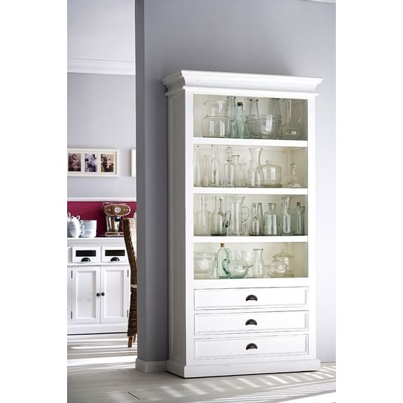 Halifax White Painted Tall Bookcase with 3 Bottom Drawers CA580 - White Tree Furniture