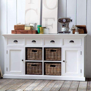 Halifax White Painted Buffet Sideboard with 4 Rattan Baskets B189 - White Tree Furniture