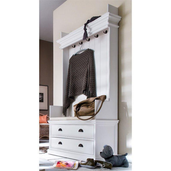 Halifax White Painted Coat Rack Bench with Seat and Drawers - White Tree Furniture