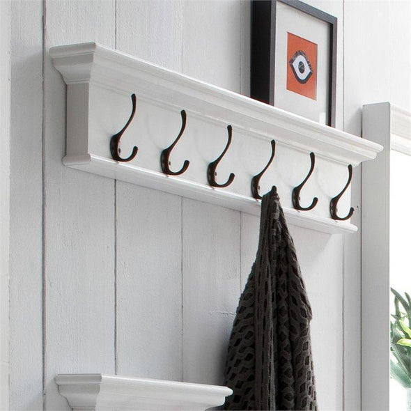 Halifax White Painted Six Hook Coat Rack - White Tree Furniture
