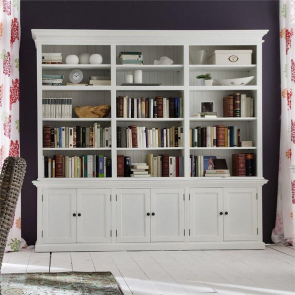 Halifax White Painted Grand Bookcase Display Cabinet - White Tree Furniture