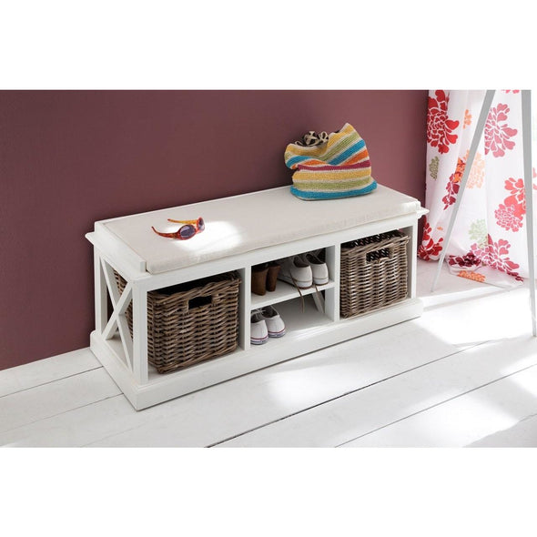 Halifax White Painted Hallway Bench with Basket Set - White Tree Furniture