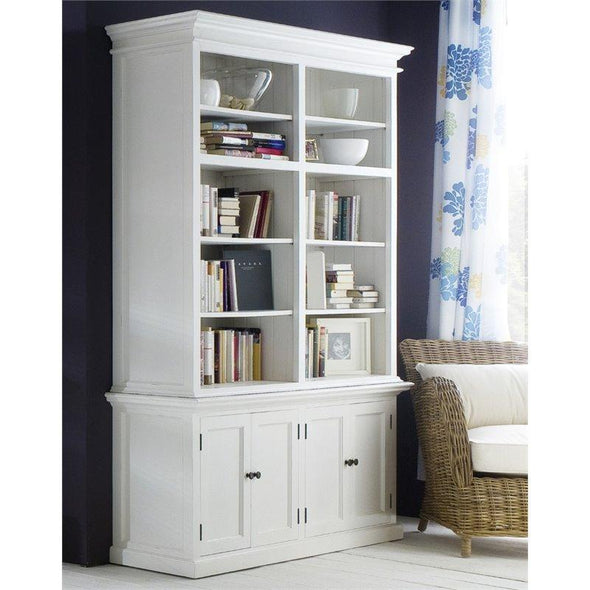 Halifax White Painted Large Bookcase with Storage - White Tree Furniture