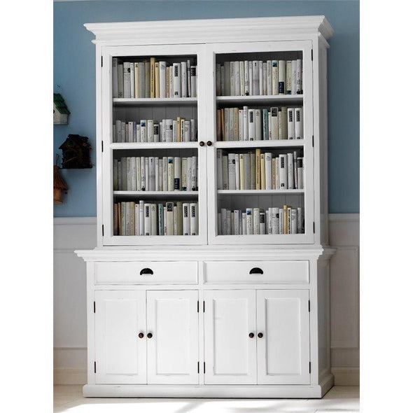 Halifax White Bookcase with Glass Doors - White Tree Furniture