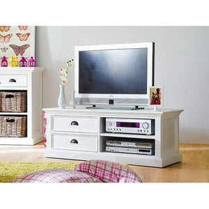 Halifax White Painted Medium TV Unit - White Tree Furniture