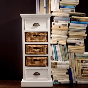 Halifax White Painted Narrow Tallboy Chest of Drawers with Rattan Baskets - White Tree Furniture