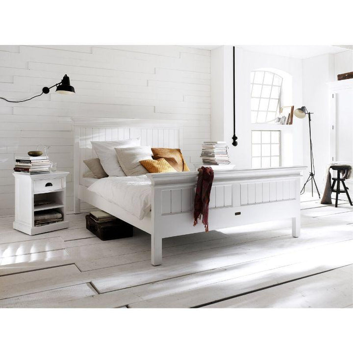 Halifax White Painted Queen Size Double Bed 160 x 200cm - White Tree Furniture