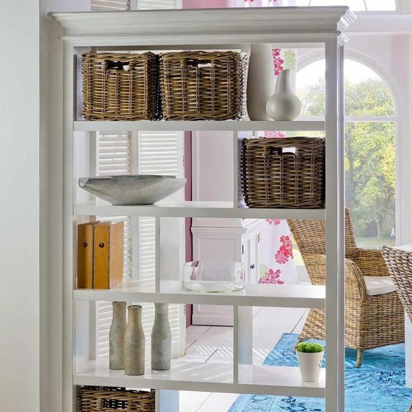 Halifax White Painted Shelving Unit with Rattan Baskets - White Tree Furniture
