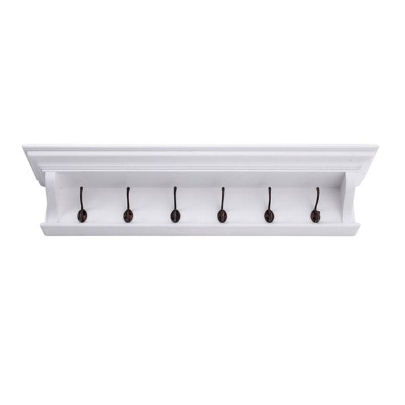 Halifax White Painted 6 Hook Coat Rack 100cm - White Tree Furniture