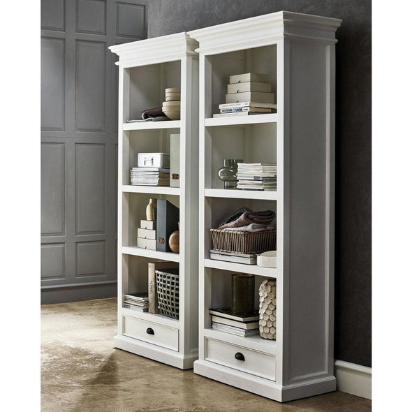 Halifax White Painted Tall Bookcase with Low Drawer - White Tree Furniture