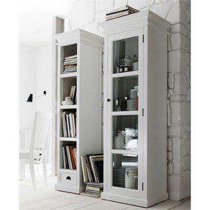 Halifax White Painted Tall Cabinet with Glass Door - White Tree Furniture
