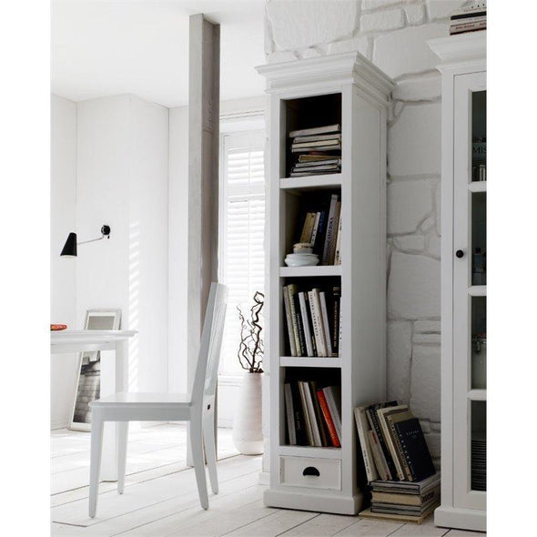 Halifax White Painted Tall Narrow Bookcase with Drawer - White Tree Furniture