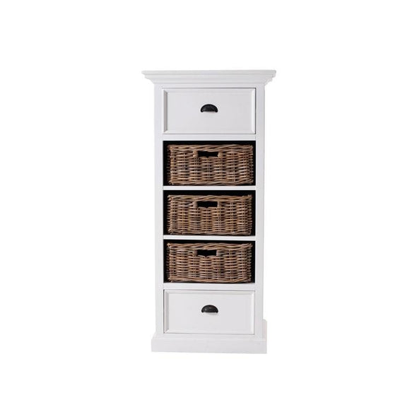 Halifax Grand White Painted Tallboy with Basket Set CA589L - White Tree Furniture